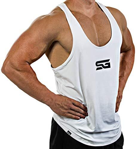 Satire Gym Fitness Stringer Herren - Funktionelle Sport Bekleidung - Geeignet Für Workout, Training - Tank Top (weiß - schwarzer Print, L)
