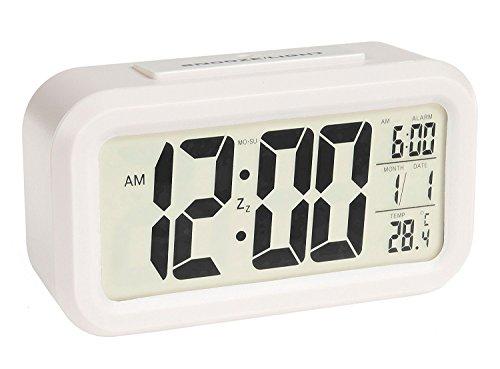 MFEIR® Digitaluhr mit Nachtsensor und Beleuchtung Digitalwecker Reisewecker,Weiß