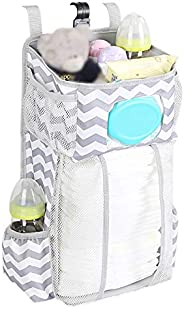 Hanging Diaper Caddy Organizer Baby Hanging Diaper Stacker with Wipes Pocket Baby Essentials Storage Diaper St