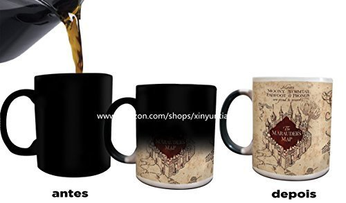 Image of Harry Potter mugs Marauders Map Heat Changing Color Coffee Mugs by Morphing Mug