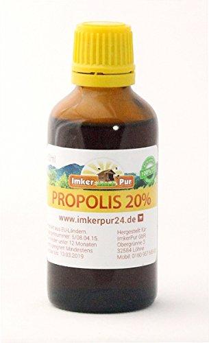 Propolis-Tinktur /-Lösung (20%) von ImkerPur 2x50ml (gesamt 100ml), in medizinischem Alkohol, Premiumqualität aus der Ernte 2018