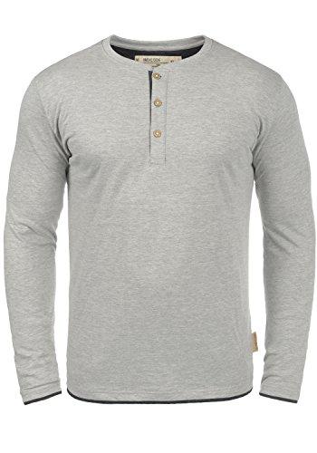 Button Down Long Sleeve Henley (Indicode Gifford Herren Longsleeve Langarmshirt Shirt Mit Grandad-Ausschnitt, Größe:XL, Farbe:Light Grey Mix (913))