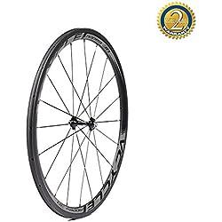 VCYCLE Nopea 700C Fibra de Carbono Bicicleta Ruedas 38mm Tubular 23mm Ancho Basalto Superficie de Frenado Shimano o Sram 8/9/10/11 Velocidades (Rueda Delantera)