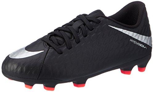 Nike Hypervenom Phade Iii Fg, Chaussures de Football Mixte Enfant Noir (Black/metallic Silver-black-total Crimson)