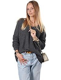 Mikos  Damen Frauen Pullover Winter Strickpullover Hoodie Pulli mit V- Ausschnitt Oversize Sommer Herbst 2b0ee274fb