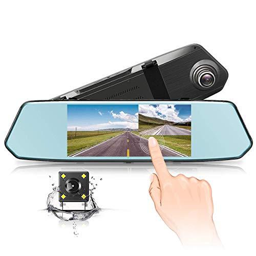 Dashcam Rückspiegel Dashcam Monitor Autokamera 7 Zoll IPS Touchsreen Spiegel DashCam mit 170 Weitwinkel,Bewegungserkennung,Parkmonitor,Loop-Aufnahme (Black)