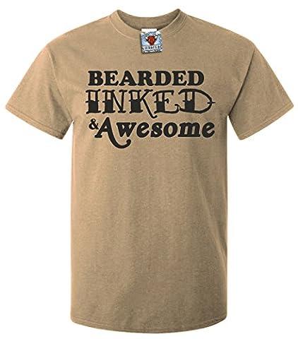 Bullshirt's Men's Bearded, Inked & Awesome T-Shirt (2XL, Sand)