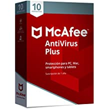 McAfee AntiVirus Plus 2019 | 10 Dispositivos |  Suscipcion de 1 ano|PC/Mac/Android/Smartphones