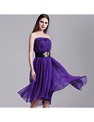 La Sra. verano chica de verano en Europa larga chiffon gran deslizamiento hadas falda faldas ,púrpura,m/eu40 cuerpo-YU&XIN