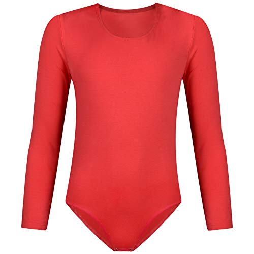 (Evoni Dafi Kinder Langarm-Body   Mädchen-Body Rundhals-Ausschnitt Größen   Druckknöpfe im Schritt   Kinderwäsche Baumwolle   komfortabeler Turnbody   Ballett-Trikot (134, Coral))