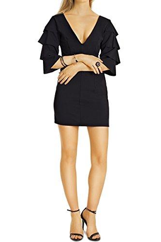 Bestyledberlin Damen Minikleider, sehr kurze Cocktail Kleider, Kurzarm Sommer-Kleider V-Neck k76p schwarz, Size S-M (Low-cut-tiefer V-neck Top)