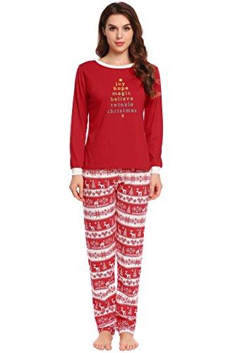 ADOME Warm Damen Weihnachten Schlafanzug Lang fur Winter Modal Weich mit Saum Elastischer Bund