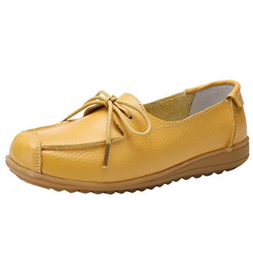EUCoo_shoes Frauen Flache Schuhe Niedrig Zu Helfen Einfarbig LäSsig Komfort Erbsen Schuhe Krankenschwester Schuhe LäSsig Schuhe(Gelb, 37) Frau Moc