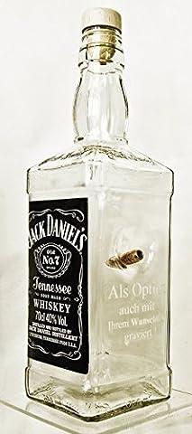 Jack Daniels Whisky Original 0,7 Glasflasche zum nachfühlen mit realem Geschoß- Kaliber Typ FMJ 7,85/.308. Mit Gravur Option. Einzigartiges Geschenk