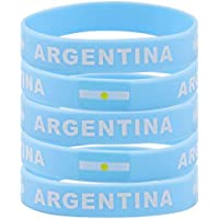 SpringPear® 5X Pulseras de Silicona con Bandera de Argentina Copa Mundial de la Fútbol FIFA