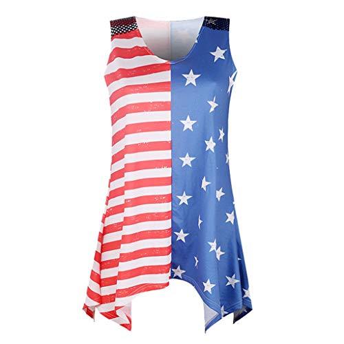 QUINTRA Weste Frauen Streifen Amerika Flagge gedruckt ärmellosen Saum unregelmäßigen Tank Up Bluse
