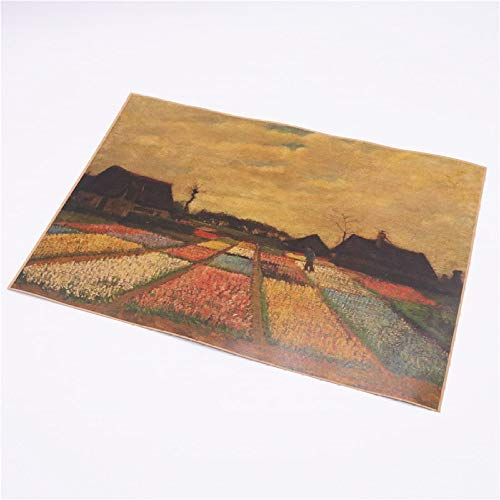 Van Gogh Weizenfeld Vintage Kraftpapier Nostalgie Ölgemälde Poster Bar Cafe Antique Home Wandaufkleber Fvd 42,5x30,5 cm -