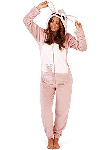 Overall Kostüm Damen - Loungeable Damen Jumpsuit Overall Tiere Gesichter Öhrchen 3D Kapuze Kangaroo 79754 L