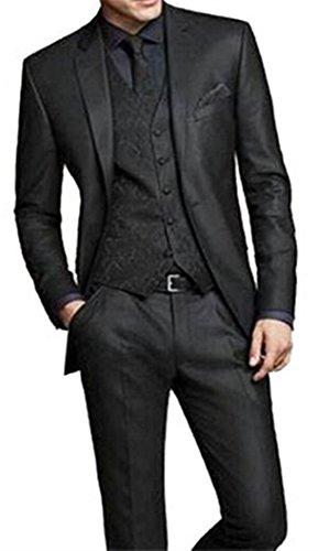 f3a96277d5b750 Lilis® Herrenmode Grau 3 Stück Männer Anzüge Hochzeit Anzüge One Button  Bräutigam Smoking