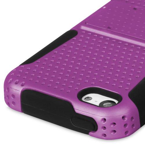 Fosmon MESH-SD Slim Double-Layer Kickstand Case for the Apple iPhone 5C - Retail Packaging (Blue / White) schwarz/violett