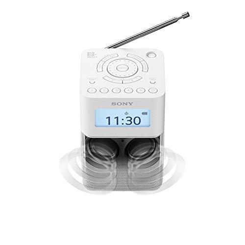 Sony XDR-V20D DAB/DAB+/UKW Radio mit Stereo Lautsprecher (10 Senderspeicher, platzsparendes Design, Akku- & Netzbetrieb, Timer-Weckfunktion) Weiß