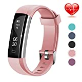 Lintelek Fitness Tracker, Slim Activity Tracker with Heart Rate Monitor,Pink