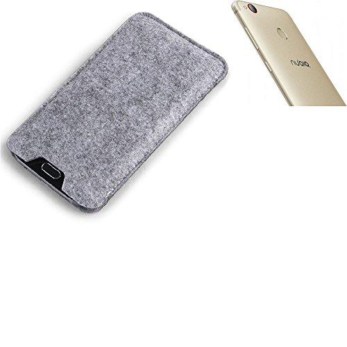 K-S-Trade Filz Schutz Hülle für Nubia Z11 Minis Schutzhülle Filztasche Filz Tasche Case Sleeve Handyhülle Filzhülle grau