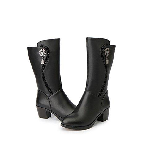GRRONG Hiver Rond Femmes Chaussures Mode Confortable Chaud Grande Taille Femmes De Coton Bottes Anti-dérapant Portent Des Talons épais Black