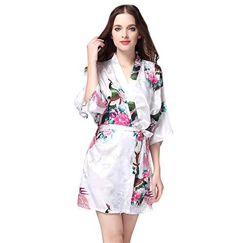 MRULIC Damen Spaghetti Strap Spitzensaum Kleid Nachthemd Nachtwäsche Bedruckte Halbarm Morgenmantel Satin Top Pyjama Kimono Kleider(Weiß,M)