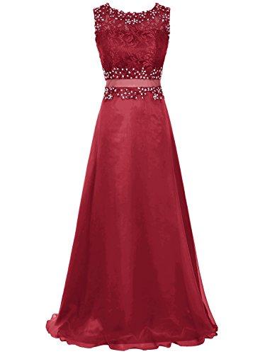 Bbonlinedress Robe de cérémonie en mousseline dentelle forme empire longueur ras du sol Rouge Foncé