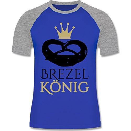Oktoberfest Herren - Brezel König - zweifarbiges Baseballshirt für Männer Royalblau/Grau meliert