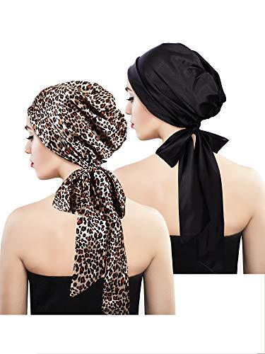 Satin Wrap Kleid (2 Stücke Weich Satin Kopftuch Schlafen Mütze Bonnet Kopfbedeckung Kopf Abdeckung Turbane für Damen (Set 6))