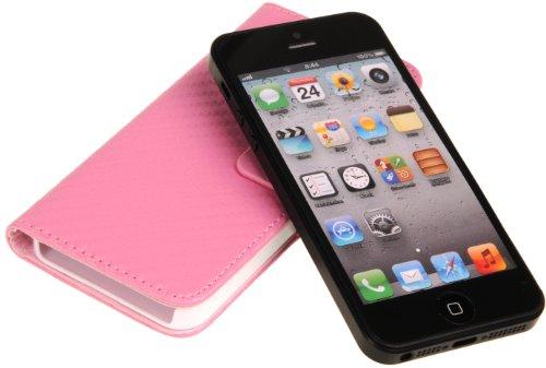 DONZO Handyhülle Flip Cover Case für das Apple iPhone 5 / 5S in Blau Flip Structure als Etui seitlich aufklappbar im Book-Style Wallet Carbon-Style Rosa