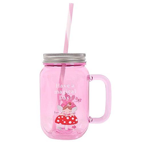 Mason Gläser Fleur Fairy Rosa Kinder Trinkflasche mit Trinkhalm
