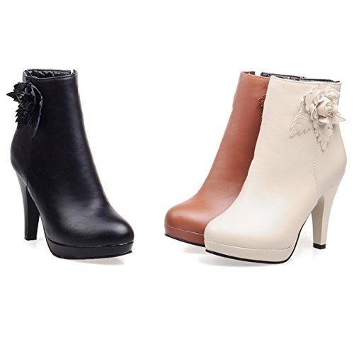 YE Damen High Heels Plateau Stiefeletten mit Blumen und Reißverschluss Elegant Herbst Short Ankle Boots Schuhe Schwarz
