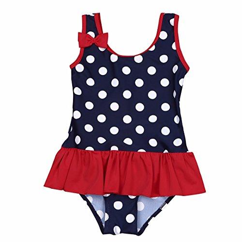 FEESHOW Kinder Mädchen Einteiler Badeanzug ärmellos Polka Dots mit Schleife Strand Swimmsuit Schwimmenanzug Bademode Gr.62-98 Marineblau 62/0-3 Monate (Badeanzug Dots)