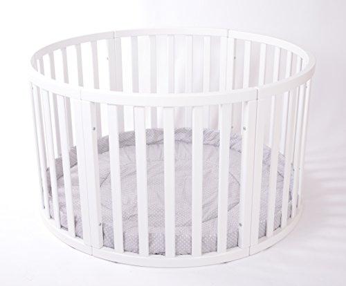 MJmark - Très grand parc bébé en bois rond - avec tapis de jeu gris à pois blanc - modèle «Apollo»