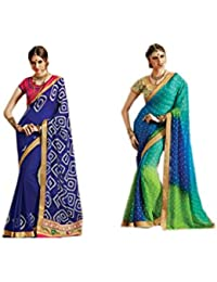 Mantra Fashions Women's Georgette Saree (Mant43_Multi)-Pack of 2