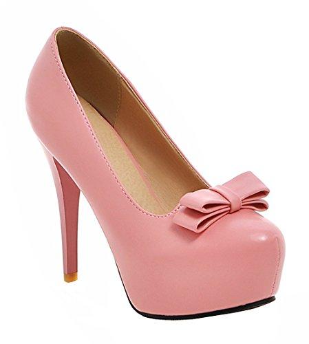 YE Damen 12cm High Heels Plateau Stilettos Geschlossen Runde Pumps mit Schleife Party Elegant Moderne Schuhe Rosa