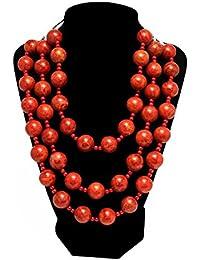 DeNovo Red Beaded Long Necklace For Girls /Women For Casual Wear , Party Wear , Everyday Wear , Office Wear