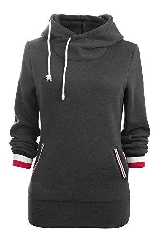 Aitos Kapuzenpullover Damen Hoodie Sweatshirt Top Streifen Hipster Mode Lässige Herbst Winter (Schwarz/XL)