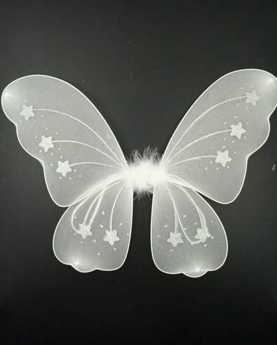 Letechest (TM) Große Prinzessinnen-/Feenflügel mit passendem Zauberstab, ideal für Junggesellinnenabschiede, (Weiße Feenflügel)