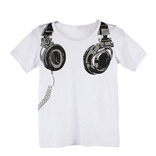 T shirt kinder Kolylong Kinder Jungen Kopfhörer-Druck-Muster Tops T-Shirt 90 100 110 120 130 (110, Weiß)