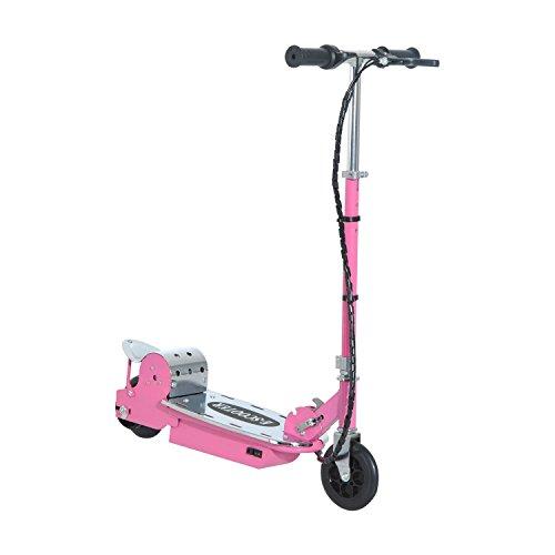homcom Monopattino Scooter Elettrico per Bambini Pieghevole 120 W, Velocità max: 13Km/h in Metallo, PE 81.5 × 37 × 90cm, Rosa