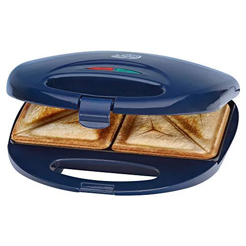 Clatronic ST 3477 Sandwichtoaster, 3-eckige Sandwichplatten, automatischer Temperaturregler, mit 2 Kontrollleuchten, Antihaftbeschichtung, Überhitzungsschutz, blau