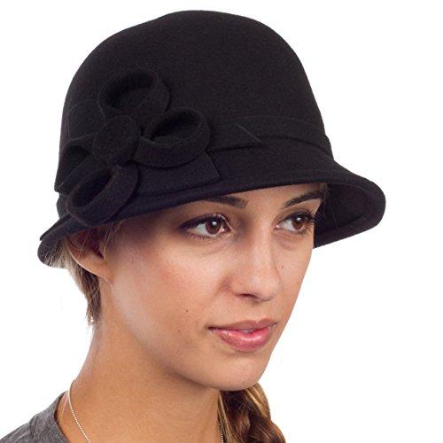 Sakkas 0121LC - Womens Vintage Style 100% Wolle Cloche Eimer Winter Hut mit Band Blume Akzent - Schwarz / One Size