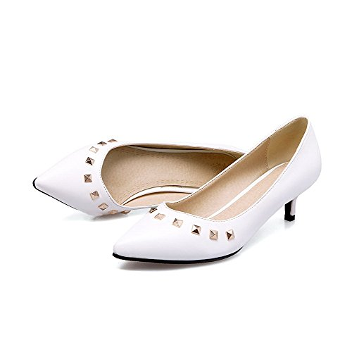 VogueZone009 Donna Tirare Tacco Medio Luccichio Puro Scarpe A Punta Ballet-Flats Bianco