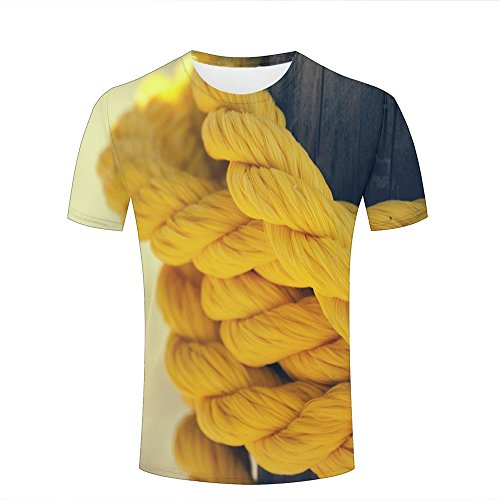 Mens T-Shirts Fashion 3D Printed Yellow Rope Graphic Short Sleeve Casual Couple Tees XXXL -