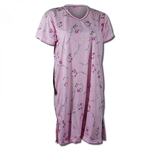Damen Nachthemd halbarm Motiv 'Schäfchen' in 8 verschiedenen Farben Rosa