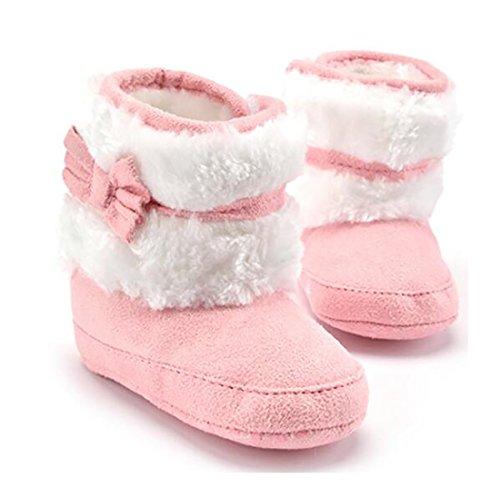 Unisex Baby Schuh Krabbel Hausschuhe Bowknot Babyschuhe Babystiefel Für 0-18 Monate (12(6-12months Baby), Rosa)